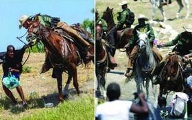 美騎警馬背上用韁繩驅趕海地難民