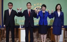 自民黨總裁候選人包括(左起)∶河野太郎、岸田文雄、高市早苗及野田聖子。(圖源:AP)
