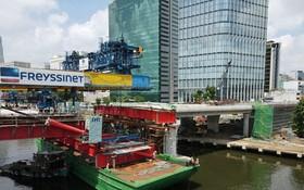 守添二橋項目是本市要急速建設的重點工程之一,在疫情期間仍照常 施工。