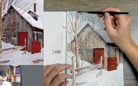 美術教師劉明武通過臉書進行繪畫教學直播。