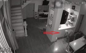 家用監控攝像機錄下了竊賊入室(箭號示)的畫面。(圖源:監控視頻截圖)