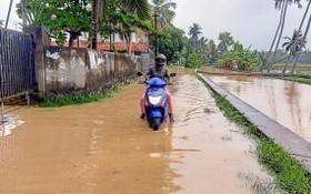 10月16日,在印度南部喀拉拉邦首府提魯沃嫩塔布勒姆,一名男子在積水中騎行。(圖源:新華社)