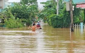 廣南省大祿縣愛義鎮遭洪水襲擊,到處一片汪洋。(圖源:T. Thành)
