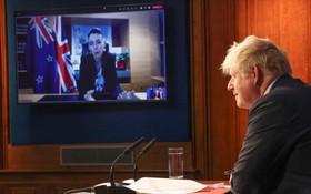 英新兩國領導人就協定開視頻會議。(圖源:互聯網)