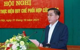 中央檢查委員會主任陳錦秀在會議上發言。(圖源:越通社)