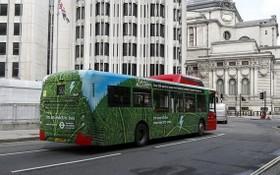這是8月9日在英國倫敦市中心拍攝的電動公交車。(圖源:新華社)