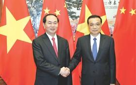 國家主席陳大光與中國總理李克強會談。(圖片來源:互聯網)