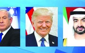 以色列總理內塔尼亞胡與美國總統特朗普和阿聯酋阿布扎比王儲穆罕默德。
