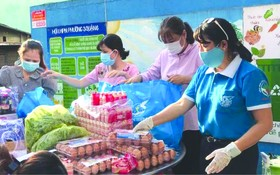 第六郡婦聯會主席梁氏菁竹(右一) 親自給隔離居民派發應用品。