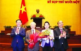 國會主席王廷惠與黨政領導祝賀阮富仲同志。