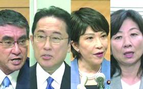 日媒報導截圖:(左起)河野太郎,岸田文雄,高市早苗,野田聖子。