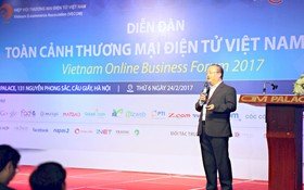 VECOM副主席阮玉勇公佈2017年我國電子商務發展指數。(圖片來源:互聯網)
