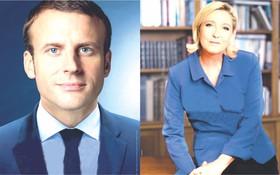 馬克龍(左)和勒龐的第二輪投票官方競選海報(拼圖/圖源:互聯網)。