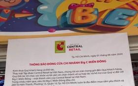 東區BigC 超市的停業通知。