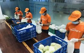 平仙公司員工在包裝農產品以售給顧客。