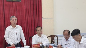 Deputy Chairman of the Ho Chi Minh City People's Committee Ngo Minh Chau works with leaders of the People's Committee of District 8.
