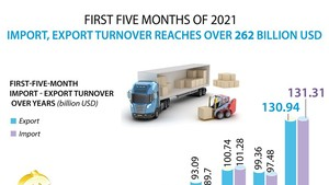 Import-export turnover surpasses US$262 billion in first five months