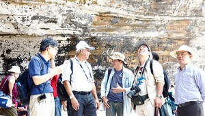 Scientists are examining the geological value of Ly Son – Sa Huynh Global Geopark. (Photo: SGGP)