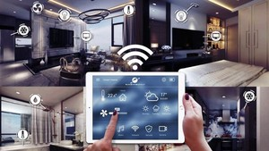 With a tablet, the owner of a domotics can easily monitor and control smart devices in his or her house.