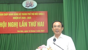 Secretary of HCMC Party Committee Nguyen Van Nen speaks at the 2nd Congress of Thu Duc City's Party Committee for the 2020-2025 tenure. (Photo: SGG)