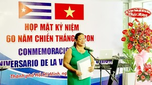 Cuban Consul General in Ho Chi Minh City Indira Lopez Arguelles speaks at the ceremony. (Photo: SGGP)