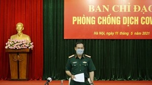 Deputy Minister of Defence Lieut. Gen. Vu Hai San speaks at the meeting. (Photo: qdnd.vn)