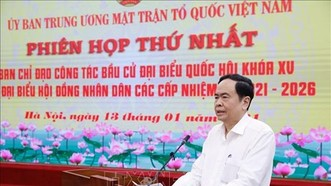 Chủ tịch Uỷ ban Trung ương MTTQ Việt Nam Trần Thanh Mẫn chủ trì cuộc họp. Ảnh: TTXVN