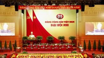 Toàn cảnh Hội trường lớn Trung tâm Hội nghị quốc gia trong phiên khai mạc Đại hội XIII của Đảng. Ảnh: VIẾT CHUNG