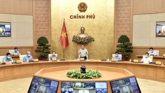 Thủ tướng Phạm Minh Chính, Trưởng Ban Chỉ đạo Quốc gia phòng, chống dịch Covid-19 chủ trì cuộc họp của Ban Chỉ đạo. ẢNH: VIẾT CHUNG