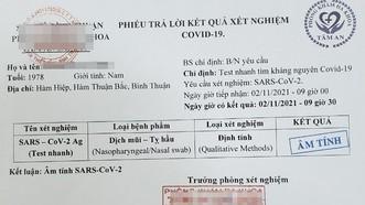 Một trong những giấy xét nghiệm Covid-19 giả được các đối tượng bán cho người có nhu cầu.