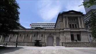 Quang cảnh bên ngoài trụ sở Ngân hàng trung ương Nhật Bản (BOJ) tại Tokyo, Nhật Bản. Ảnh: AFP/ TTXVN