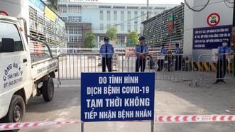 Thông báo của Bệnh viện K ở các cổng ra vào. Ảnh: Bộ Y tế