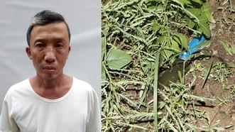 Đối tượng Bùi Quang Lý và hung khí bị vứt bỏ gần hiện trường. Ảnh: VKSND tỉnh Hà Tĩnh