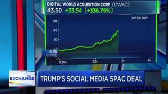 """Giá cổ phiếu của DWAC tăng đột biến sau khi """"bắt tay"""" với ông Donald Trump. Ảnh: CNBC"""