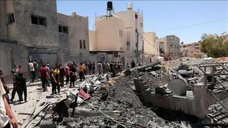 Cảnh đổ nát sau loạt không kích của Israel xuống Dải Gaza ngày 15-5-2021. Ảnh: THX/TTXVN