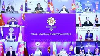 Hội nghị Bộ trưởng Ngoại giao ASEAN - New Zealand theo hình thức trực tuyến. Ảnh: TTXVN