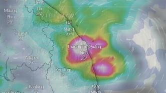 Áp thấp nhiệt đới đã mạnh lên thành bão số 6. Ảnh: Windy