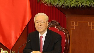 Tổng Bí thư Nguyễn Phú Trọng điện đàm với Tổng Bí thư, Chủ tịch nước Trung Quốc Tập Cận Bình vào sáng 24-9, tại Trụ sở Trung ương Đảng. Ảnh:  TTXVN