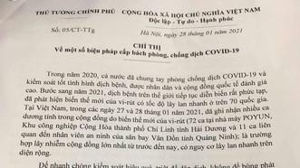 Thủ tướng chỉ thị cấp bách phòng chống dịch COVID-19