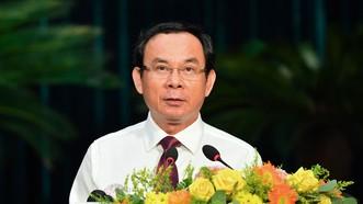 Đồng chí Nguyễn Văn Nên, Ủy viên Bộ Chính trị, Bí thư Thành ủy TPHCM phát biểu tại hội nghị. Ảnh: VIỆT DŨNG