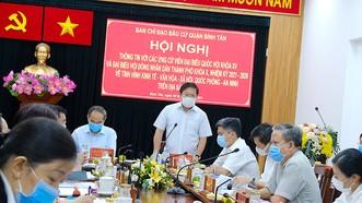 Bí thư Quận ủy quận Bình Tân Lê Văn Thinh mong muốn các ứng viên tiếp tục quan tâm, hỗ trợ địa phương phát triển. Ảnh: KIỀU PHONG