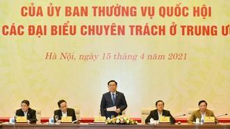 Chủ tịch Quốc hội Vương Đình Huệ chủ trì phiên họp. Ảnh: QUANG PHÚC
