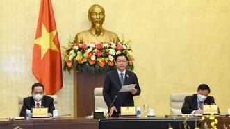 Chủ tịch Quốc hội Vương Đình Huệ chủ trì cuộc họp. Ảnh: QUANG PHÚC