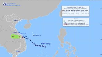 Đường đi của áp thấp nhiệt đới vào đất liền. Ảnh: TTDBKTTVQG
