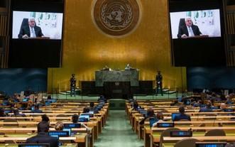 巴勒斯坦領導人阿巴斯在聯合國大會第76屆會議上發表視頻講話。 (圖源:聯合國)