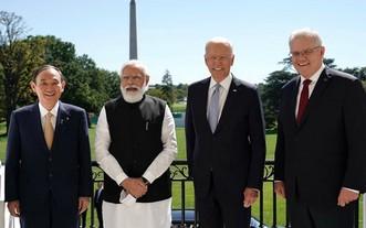 """日印美澳領導人參加""""四方安全對話""""面對面會談( 從左至右)。(圖源:共同社)"""