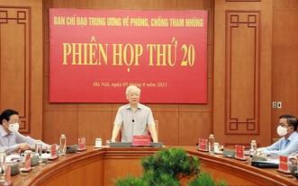 2021年8月5日,阮富仲總書記在中央肅貪指委會第20次會議上發表重要講話。(圖源:Noichinh.vn)