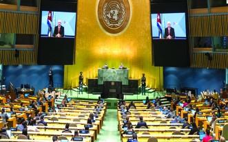 古巴國家主席迪亞斯-卡內爾在聯大會發言。