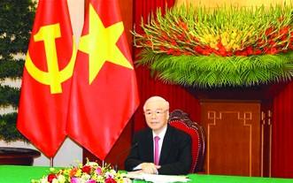 黨中央總書記阮富仲昨(24)日上午在黨中央辦事處與中共中央總書記、國家主席習近平通電話。
