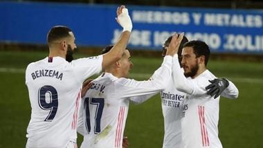 Eden Hazard và Karim Benzema tỏa sáng giúp Real thắng lớn.